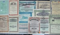 Fourteen share certificates of transport companies - Vehicles - Trains - Trams  Different countries and dates