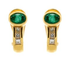 Pair of semi-hoop earrings in 18 kt yellow gold – Oval cut emeralds and trapeze cut diamonds