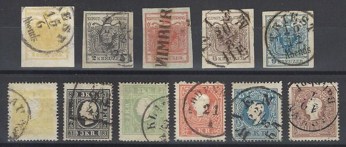 Austria - stamps from 1850 I and II editions, complete