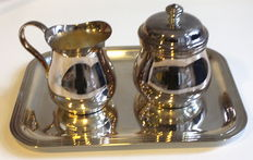 Christofle silver plated sugar jar and creamer