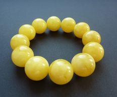 Baltic Amber bracelet,  egg yolk/ butter color
