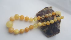 Amber necklace round beads yellow amber, 50gram