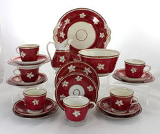 Gorgeous Antique 19th Century Porcelain Tea Set - 6 Place Settings 21 Piece - Hand Painted Maple Leaves in Gold