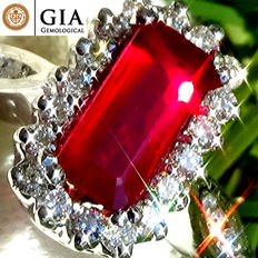 Unheated Natural 1.40 ct Vivid AAA Red Ruby and Diamond Cocktail ring in 18 kt white gold – GIA Certified – No Reserve