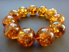 Baltic Amber bracelet - cognac colour with sparkle bubbles inside