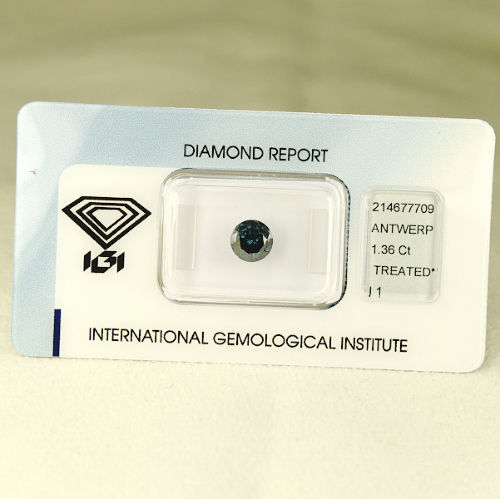 Diamante fancy, blu scuro con sfumature verdi – 1,36 ct. SENZA RISERVA