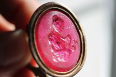 Different seals of sealing: Woman in crystal, old Ottoman idol with goat and religious Jesuit seal JHS. Excellents.