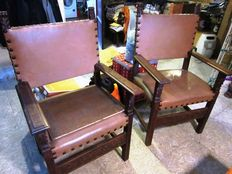 French Renaissance style wooden chairs with arms, middle of the 1800