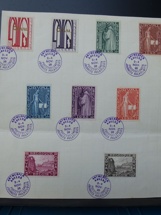 Belgium - Page with Orval and mark Stamp Day Antwerp - OBP 266 A / K.