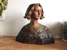 Ornate plaster bust of a young lady, France, 20th century