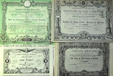 Four share certificates - France, 19th century - Very rare and sought after