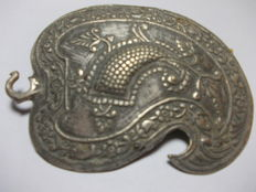Great medieval silver buckle for belts and cloaks