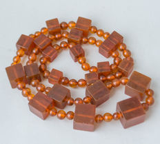 18-20th century Baltic amber necklace 100% natural butterscotch, honey color