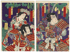 Large, original diptych woodblock print of a Meiji era artist (unsigned and undated) - Japan - around 1880.
