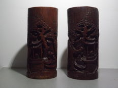 Paar grote bamboe kwast potten - China - Ca. 1920