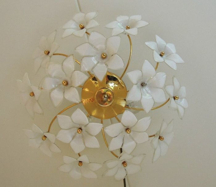 Designer Unknown U2013 Murano Glass Flower Ceiling Light In Franco Luco Style