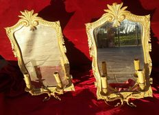 A pair of gilded bronze sconces with original wall mirrors - France, late 19th C