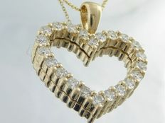 Yellow gold heart pendant including necklace with set with diamonds with a total of 1.00 ct. *** NO RESERVE PRICE ***
