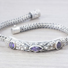 Exclusive Balinese men's bracelet with an antique design in oxidised sterling silver with amethysts