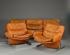 Saporiti style salon in cognac coloured leather
