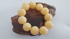 Amber bracelet white yellow milky round beads