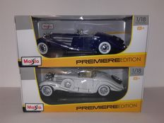 Maisto - Scale 1/18 - 2 Mercedes-Benz 500K Special Roadsters 1936 Blue & Ivory White
