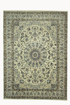 Beautiful Persian carpet Nain hand knotted oriental carpet, cream new wool with silk on cotton 340 cm x 250 cm
