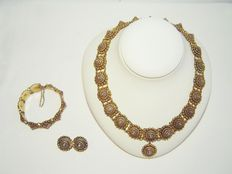 David Andersen Christiani item of jeweller from 1885 / 830 Silver / partly gold plated / set: Necklace / bracelet / brooch