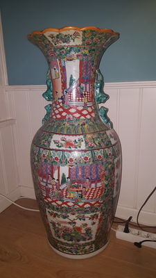 Large famille rose vase - China - second half 20th century