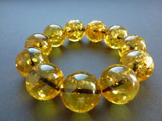 Baltic Amber bracelet, lemon color with sparkle bubbles inside