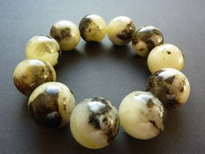 Baltic amber bracelet, greenish colour
