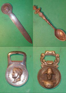 Lot of 4 pewter items NAPOLEON themed
