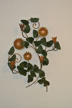 Wrought iron liberty-style chandelier featuring decoration patterns of sunflowers and leaves