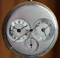 16 Sebire et Lebourhis á St. Brieux – pocket watch with three dials – two time zones and jumping central second c1840
