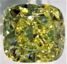2.03 ct square, cushion cut diamond, natural Fancy Yellow – VS1
