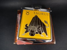 Vintage Chrome Renamel Boxed and Unused Taurus Star Sign Raging Bull Car Badge Mascot 1970's with all fixings