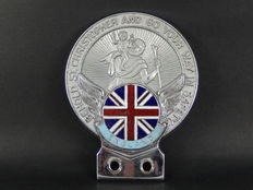 Vintage Chrome St Christopher with Enamel England Union Jack Flag Section Car Auto Badge in Excellent Condition