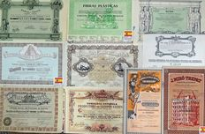 Ten decorative share certificates from Spain - From different dates