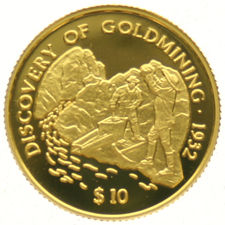 Fiji - 10 dollars 1998, 1/25 Discovery of Goldmining - Gold