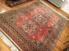 Magnificent Pakistani Karachi hand knotted rug - 259/186 cm - NEW CONDITION - BIDS STARTING AT 1 EURO