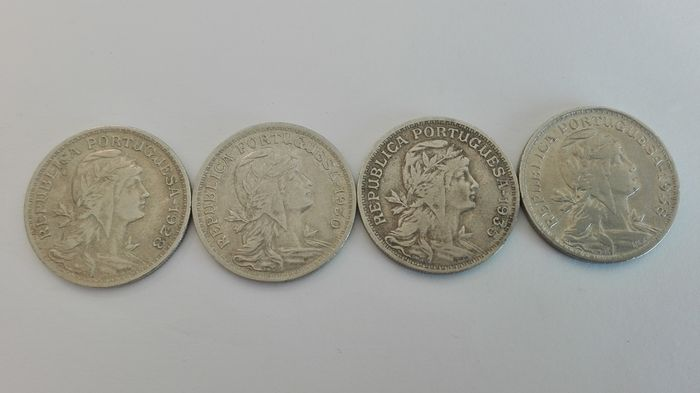 Portugal - 4 Coins of 50 Cents in Alpacca 1938; 1935; 1930; 1929.