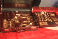 Dinnerware - fully gold-plated cutlery! SBS Solingen cutlery case, 72 pieces - Antoinette Model - 23/24 carat hard gold plated