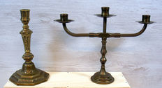 Two antique bronze candlesticks from England late 1800's