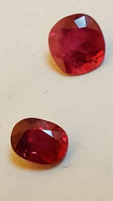 2 rubies – 0.45 ct and 0.28 ct. No reserve.