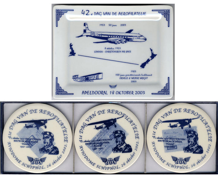 100 Years motorised aviation 2003 Delft blue - rare bowl + 3 Delft blue coasters 2002 (4 pieces)