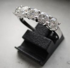 White gold eternity ring - 5 diamonds - 1.25 ct in total
