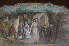 Painted hand fan depicting the Visitation of Mary to St Anne - mother of pearl sticks painted in silver leaf - France, around 1880