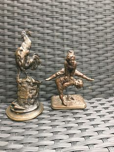 Two bronze statues - after Auguste Caïn and Alfred Barye - first half of the twentieth century
