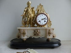 French mantle clock on plateau - Mantle clock on count wheel - Period 1880
