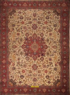 Tabriz Khoi Persian 386 x 290 Antique, late '800s, hand knotted.